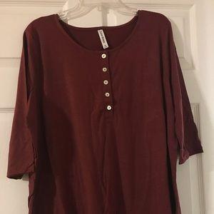 Zenana Premium Rust Button Tunic 2x